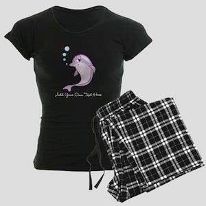 Cute Purple Dolphin Women's Dark Pajamas