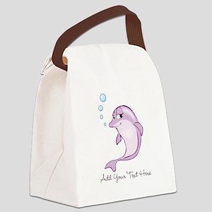 Cute Purple Dolphin Canvas Lunch Bag