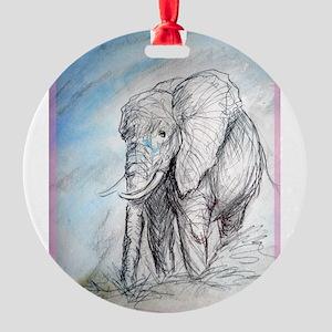 Elephant! Wildlife art! Round Ornament