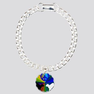 Peace Cats Charm Bracelet, One Charm