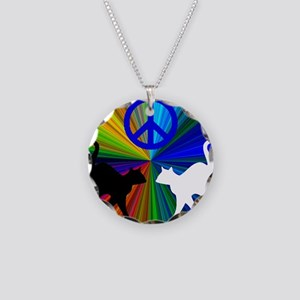 Peace Cats Necklace Circle Charm