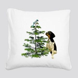 Bird Dog Tree Square Canvas Pillow