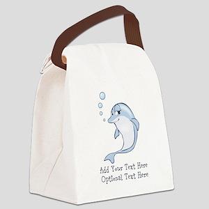 Cute Blue Dolphin Canvas Lunch Bag
