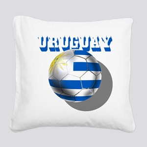Uruguay Soccer Ball Square Canvas Pillow