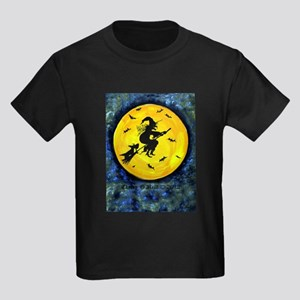 Scottie Witch Broom Kids Dark T-Shirt
