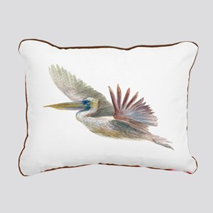 pelican flying Rectangular Canvas Pillow