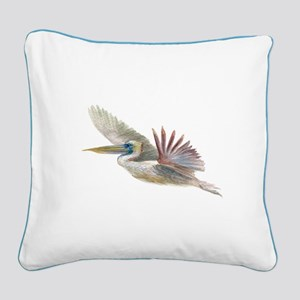 pelican flying Square Canvas Pillow