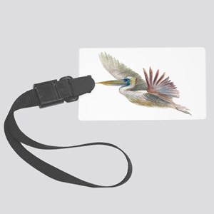 pelican flying Large Luggage Tag