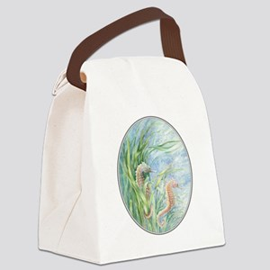 2 seahorses floating along Canvas Lunch Bag