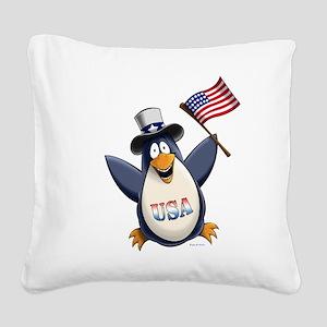 American Penguin Square Canvas Pillow