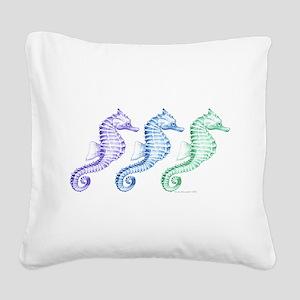 seahorse spectrum Square Canvas Pillow