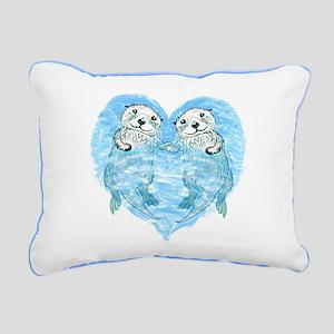 Sea Otters Holding Hands Rectangular Canvas Pillow