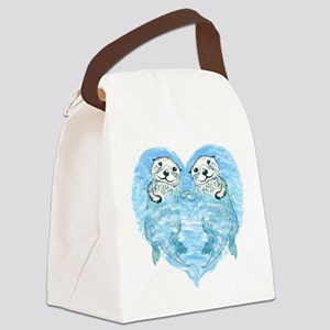 sea otters holding hands Canvas Lunch Bag
