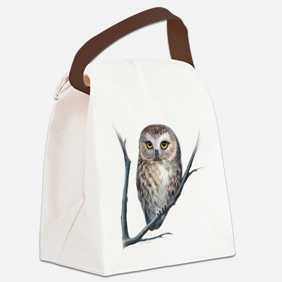 saw-whet owl light background Canvas Lunch Bag