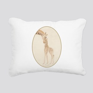 mom & baby giraffe Rectangular Canvas Pillow