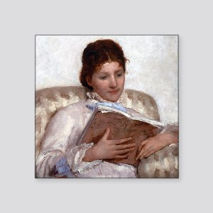 "Mary Cassatt The Reader Square Sticker 3"" x 3"""