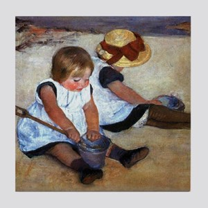 Children On The Beach Tile Coaster