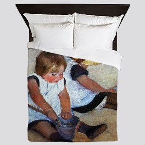 Children On The Beach Queen Duvet