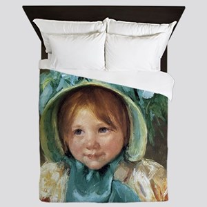 Sara In Green Bonnet Queen Duvet