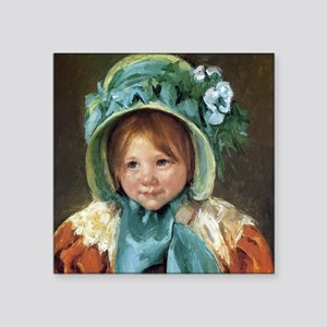 "Sara In Green Bonnet Square Sticker 3"" x 3"""