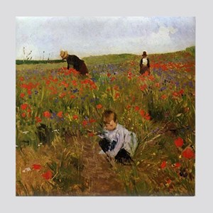 Poppies In The Field Tile Coaster