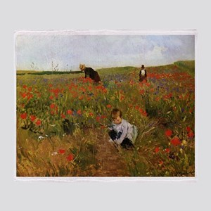 Poppies In The Field Throw Blanket