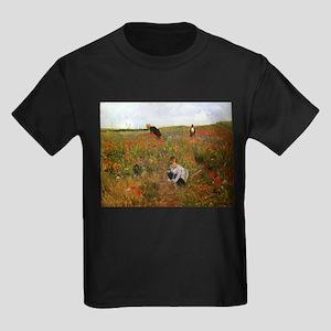 Poppies In The Field Kids Dark T-Shirt