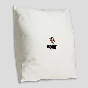 Monterey, California Burlap Throw Pillow
