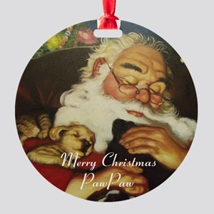 Merry Christmas Pawpaw Round Ornament