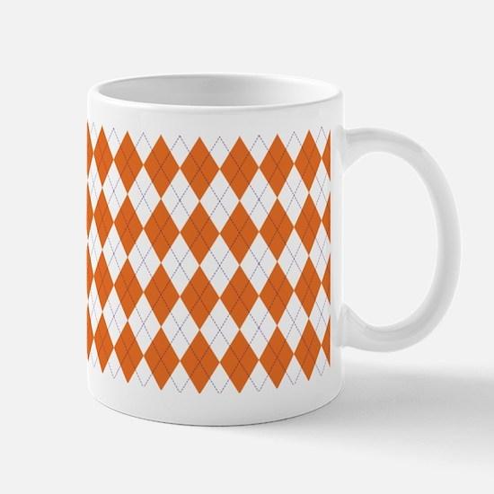 Argyle Sock Pattern Orange Mug