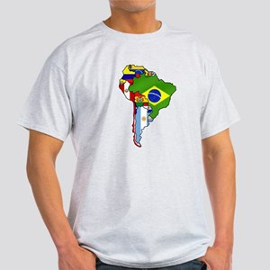 South America Flag Map Light T-Shirt