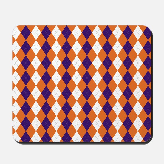 Orange and Purple Argyle Mousepad