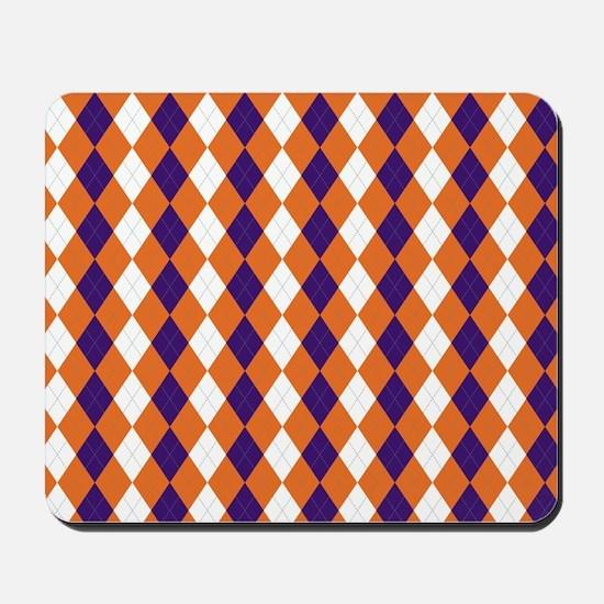 Orange and Purple Argyle Mousepad
