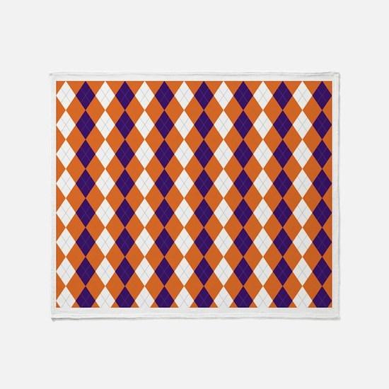 Orange and Purple Argyle Throw Blanket