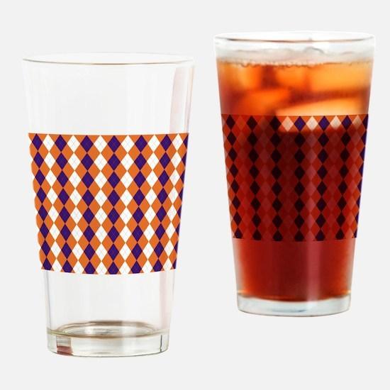 Orange and Purple Argyle Drinking Glass