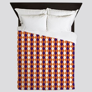 Orange and Purple Argyle Queen Duvet
