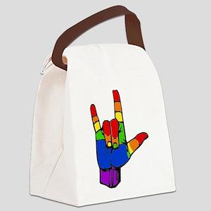 ily rainbow Canvas Lunch Bag