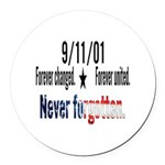 9/11 Tribute Forever United Round Car Magnet
