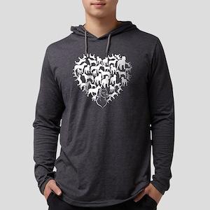Dogo Argentino Heart T-shirt Mens Hooded Shirt