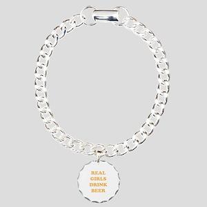 Real Girls Drink Beer Charm Bracelet, One Charm