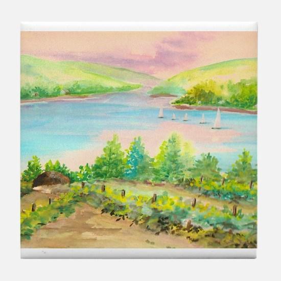 Keuka Lake Watercolor Tile Coaster