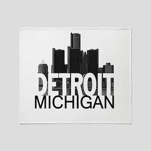 Detroit Skyline Throw Blanket