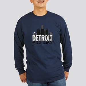 Detroit Skyline Long Sleeve Dark T-Shirt