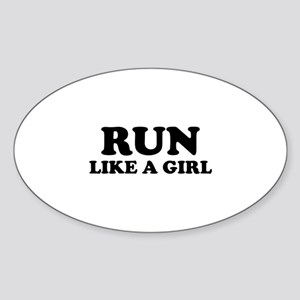 Run Like A Girl Sticker (Oval)