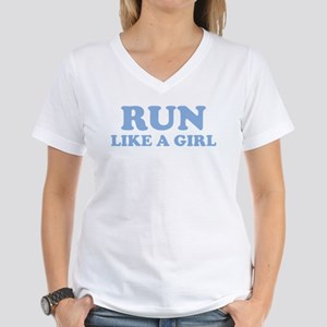 Run Like A Girl Women's V-Neck T-Shirt