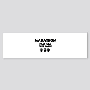 Marathon Pain Now Beer Later Sticker (Bumper)