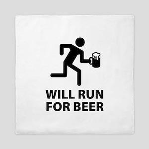 Will Run For Beer Queen Duvet