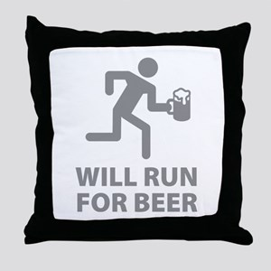 Will Run For Beer Throw Pillow