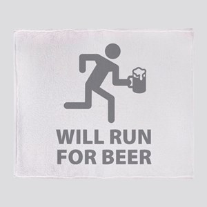 Will Run For Beer Throw Blanket