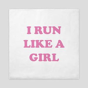 I Run Like A Girl Queen Duvet